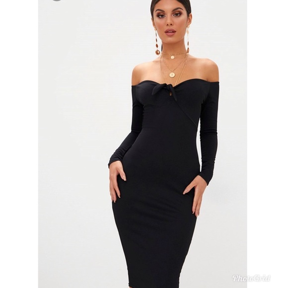 cb4587ecd914 Pretty Little Thing Dresses   Black Off Shoulder Midi Dress   Poshmark